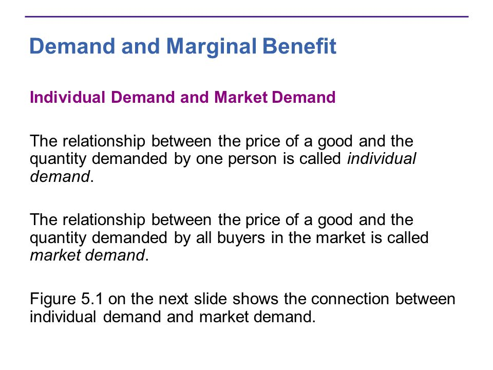 Demand and Marginal Benefit Individual Demand and Market Demand The relationship between the price of a good and the quantity demanded by one person i
