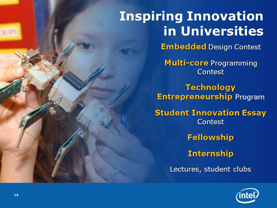 Inspiring Innovation in Universities Embedded Design Contest Multi-core Programming Contest Technology Entrepreneurship Technology Entrepreneurship Program Student Innovation Essay Contest FellowshipInternship Lectures, student clubs 14