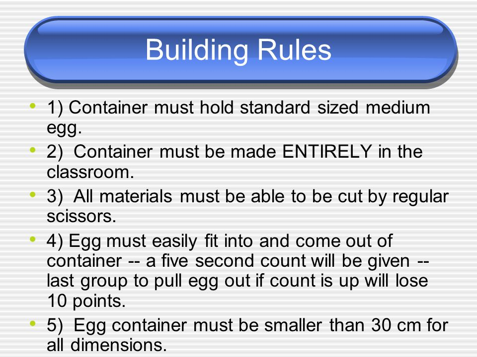 Building Rules 1) Container must hold standard sized medium egg. 2) Container must be made ENTIRELY in the classroom. 3) All materials must be able to