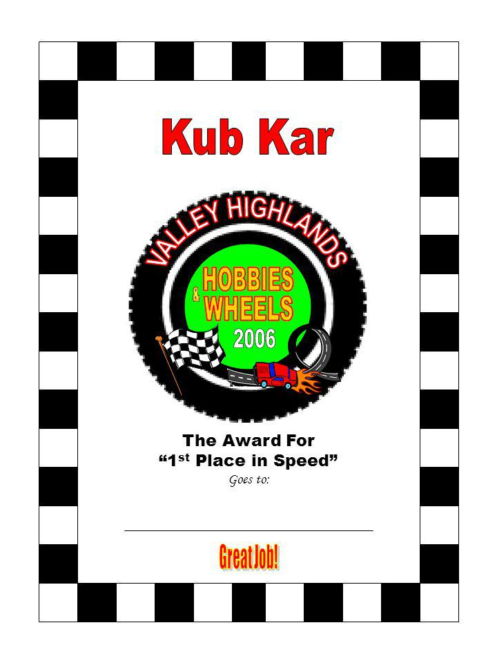 The Award For 1 st Place in Speed Goes to: