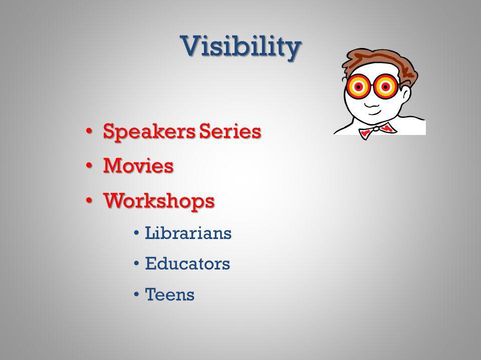 Visibility Speakers Series Speakers Series Movies Movies Workshops Workshops Librarians Educators Teens