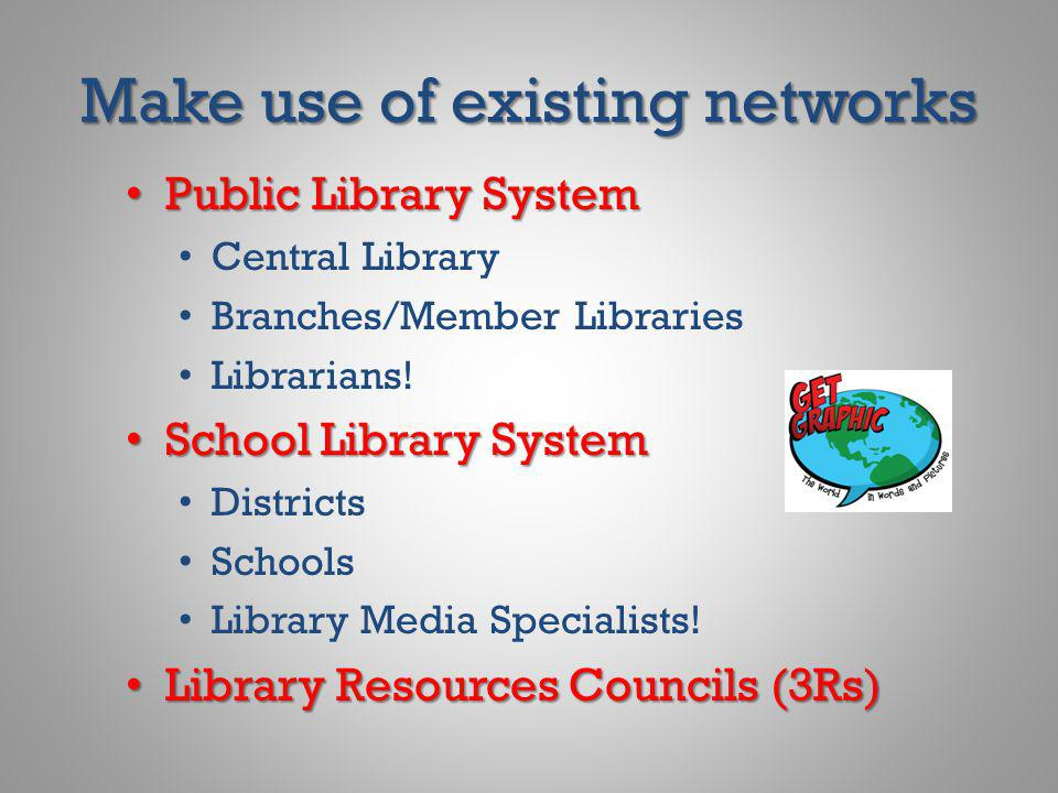 Make use of existing networks Public Library System Public Library System Central Library Branches/Member Libraries Librarians! School Library System
