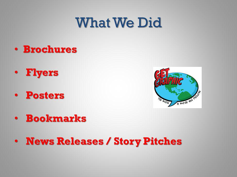 What We Did Brochures Brochures Flyers Flyers Posters Posters Bookmarks Bookmarks News Releases / Story Pitches News Releases / Story Pitches