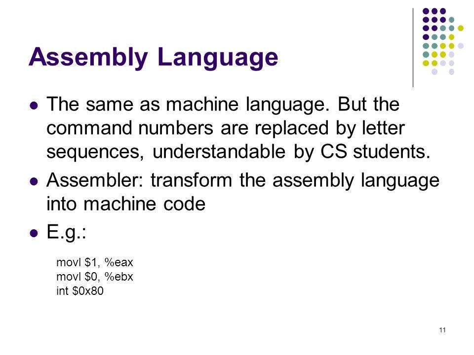 Assembly Language The same as machine language.