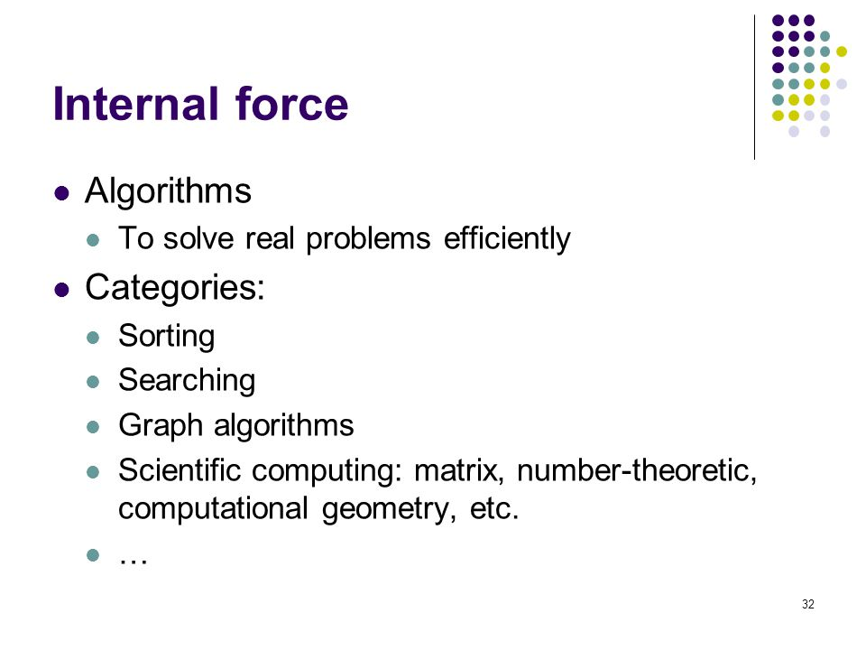 Internal force Algorithms To solve real problems efficiently Categories: Sorting Searching Graph algorithms Scientific computing: matrix, number-theoretic, computational geometry, etc.