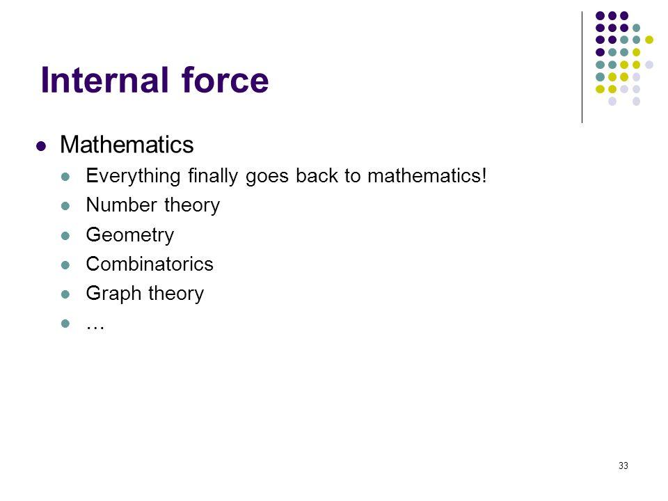 Internal force Mathematics Everything finally goes back to mathematics.