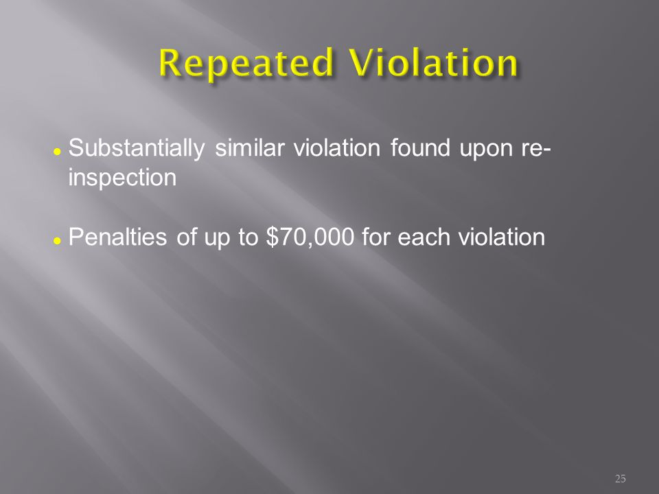 Substantially similar violation found upon re- inspection Penalties of up to $70,000 for each violation 25