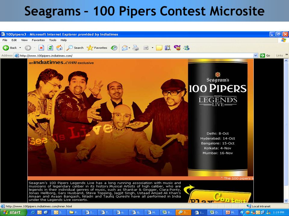 Seagrams – 100 Pipers Contest Microsite