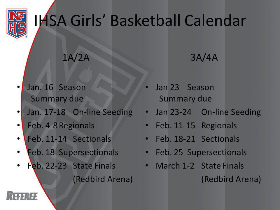 IHSA Boys Basketball Calendar 1A/2A Jan.30Season Summary due Jan.