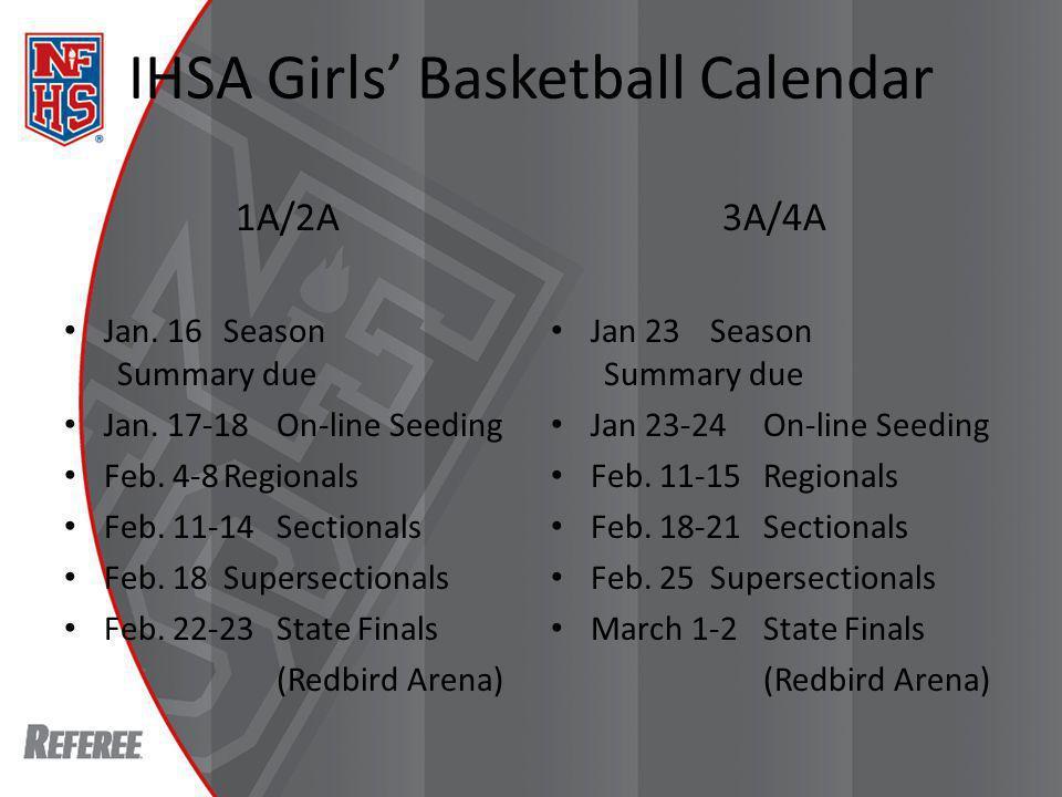 IHSA Girls Basketball Calendar 1A/2A Jan. 16Season Summary due Jan.