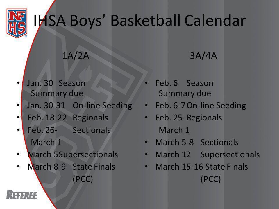 IHSA Boys Basketball Calendar 1A/2A Jan. 30Season Summary due Jan.