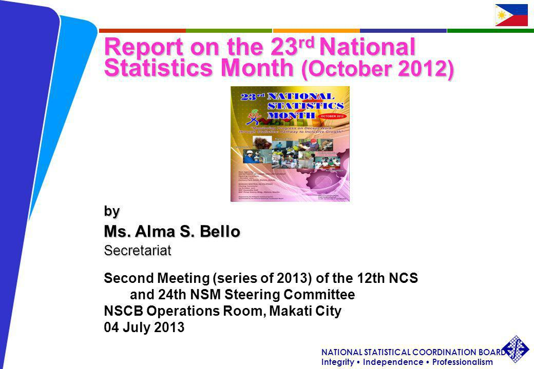 NATIONAL STATISTICAL COORDINATION BOARD Integrity Independence Professionalism ASB/NSCB/2 nd Meeting (s.
