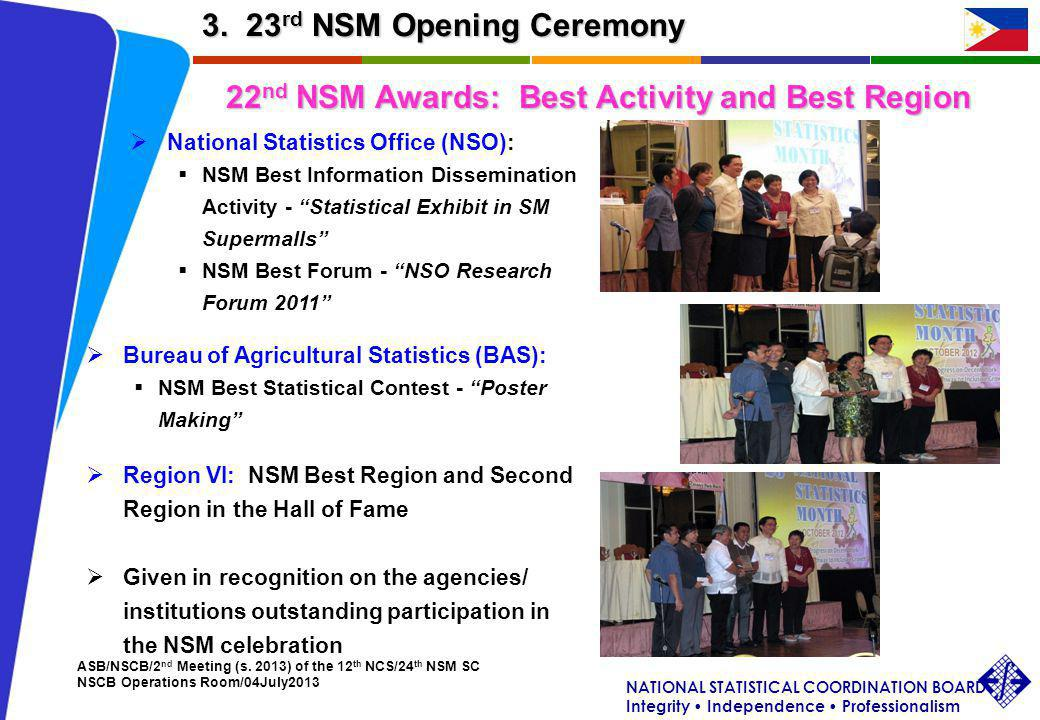 NATIONAL STATISTICAL COORDINATION BOARD Integrity Independence Professionalism ASB/NSCB/2 nd Meeting (s. 2013) of the 12 th NCS/24 th NSM SC NSCB Oper