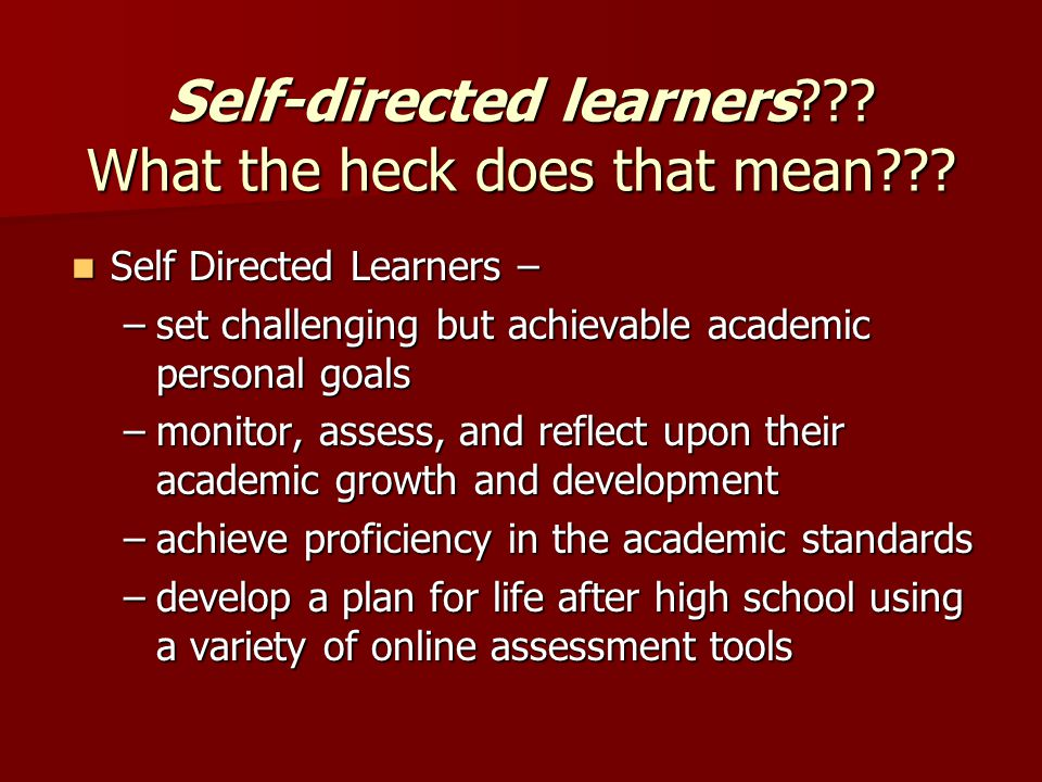 Self-directed learners . What the heck does that mean .