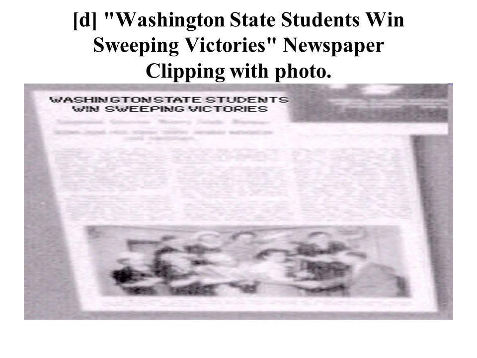 [d] Washington State Students Win Sweeping Victories Newspaper Clipping with photo.