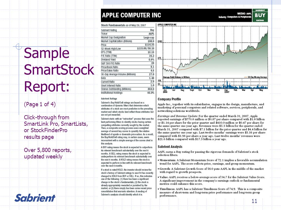 11 Sample SmartStock Report: (Page 1 of 4) Click-through from SmartLink Pro, SmartLists, or StockFinderPro results page Over 5,800 reports, updated weekly