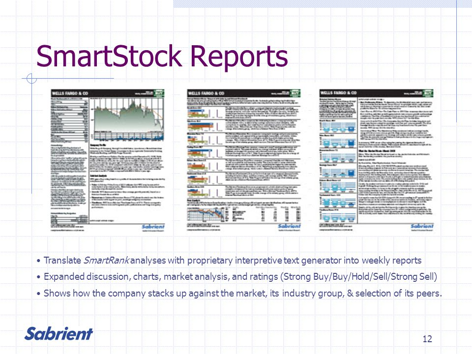 12 SmartStock Reports Translate SmartRank analyses with proprietary interpretive text generator into weekly reports Expanded discussion, charts, market analysis, and ratings (Strong Buy/Buy/Hold/Sell/Strong Sell) Shows how the company stacks up against the market, its industry group, & selection of its peers.