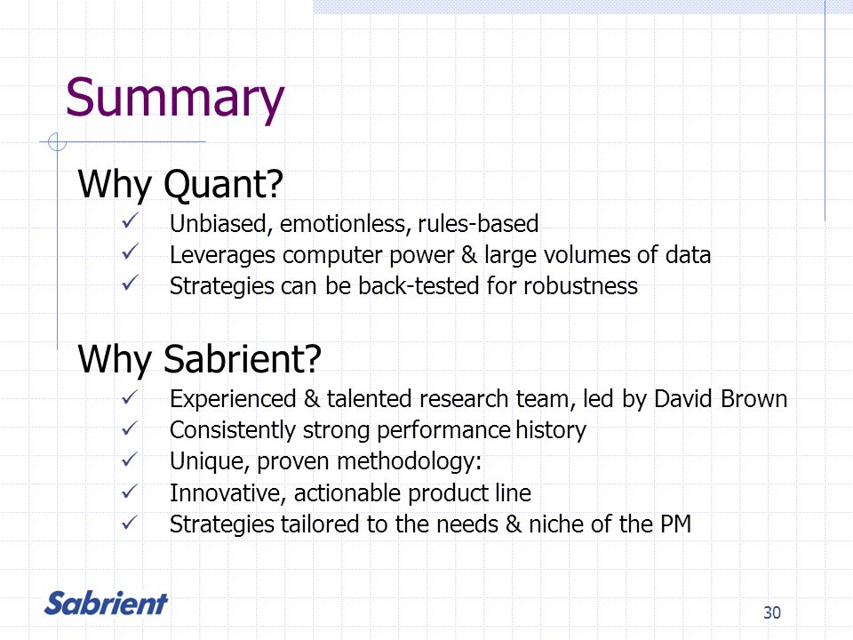 30 Summary Why Quant.