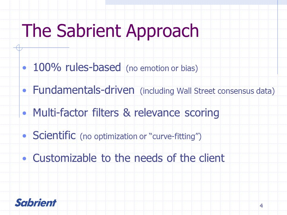 4 The Sabrient Approach 100% rules-based (no emotion or bias) Fundamentals-driven (including Wall Street consensus data) Multi-factor filters & relevance scoring Scientific (no optimization or curve-fitting) Customizable to the needs of the client