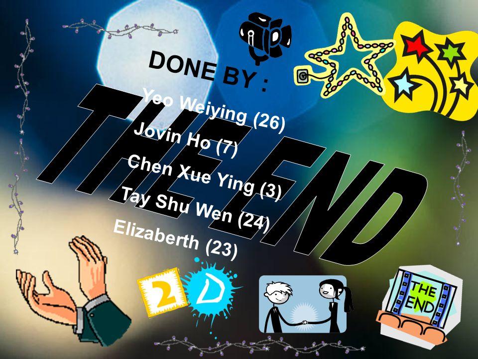 DONE BY : Yeo Weiying (26) Jovin Ho (7) Chen Xue Ying (3) Tay Shu Wen (24) Elizaberth (23)