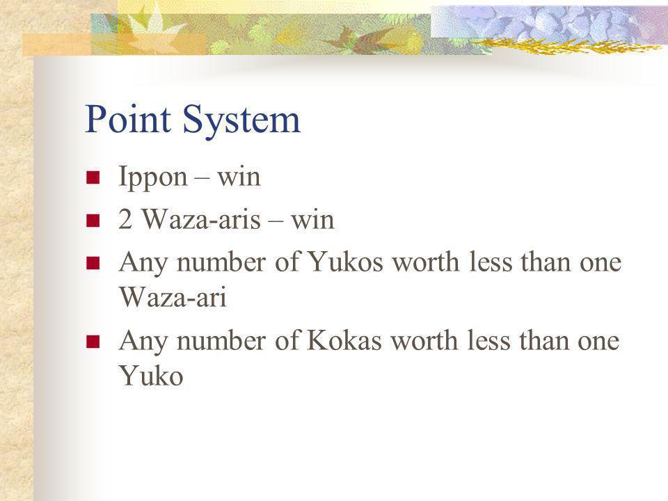 Point System Ippon – win 2 Waza-aris – win Any number of Yukos worth less than one Waza-ari Any number of Kokas worth less than one Yuko