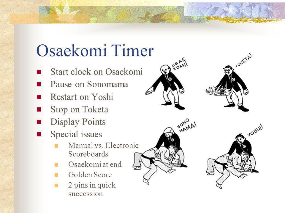 Osaekomi Timer Start clock on Osaekomi Pause on Sonomama Restart on Yoshi Stop on Toketa Display Points Special issues Manual vs.