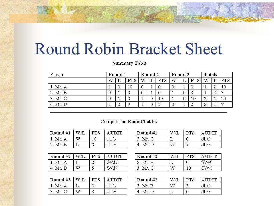 Round Robin Bracket Sheet