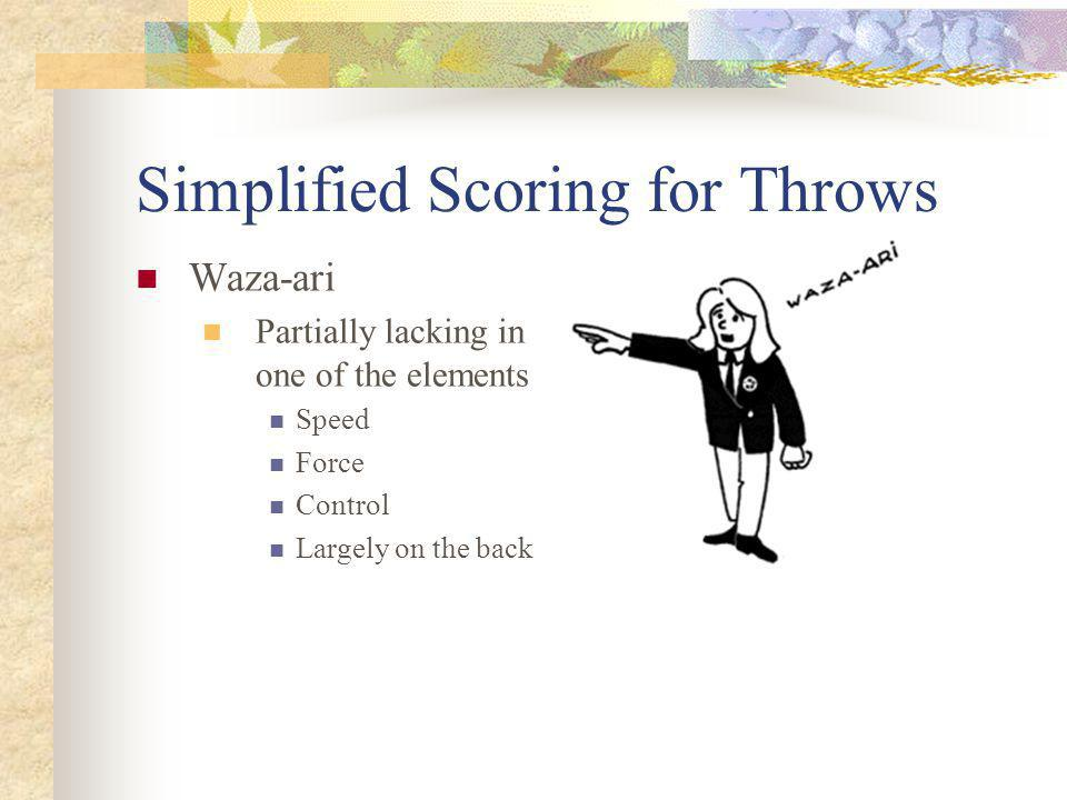 Simplified Scoring for Throws Waza-ari Partially lacking in one of the elements Speed Force Control Largely on the back