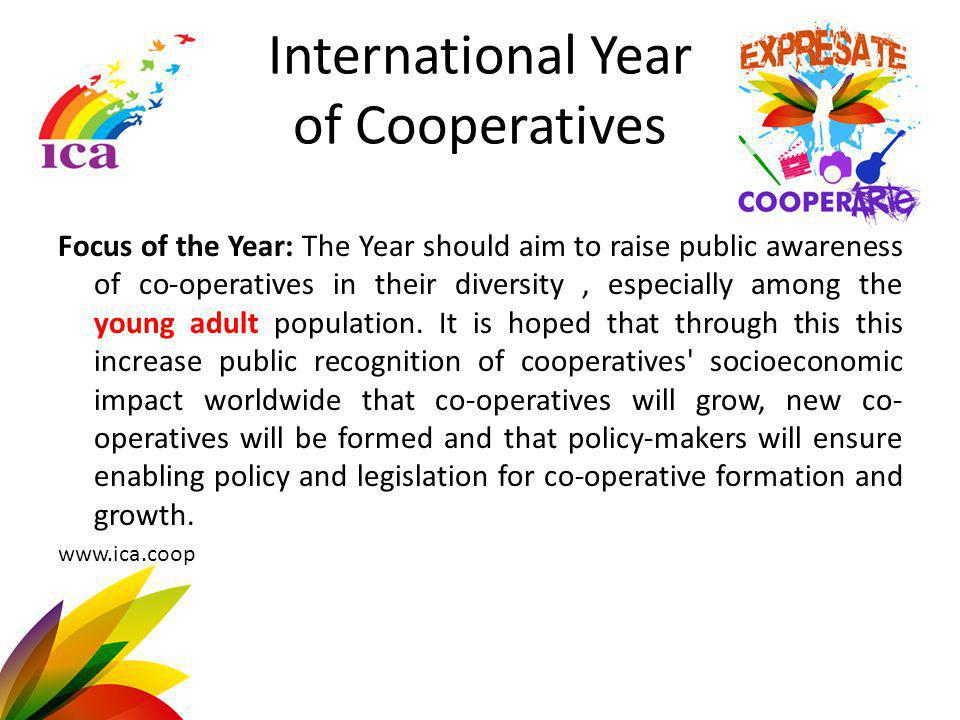 International Year of Cooperatives Focus of the Year: The Year should aim to raise public awareness of co-operatives in their diversity, especially among the young adult population.