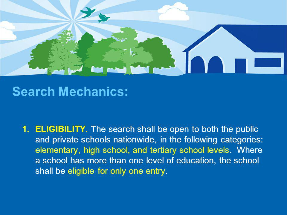 Search Mechanics: 1.ELIGIBILITY.