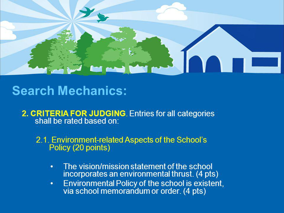 Search Mechanics: 2. CRITERIA FOR JUDGING.