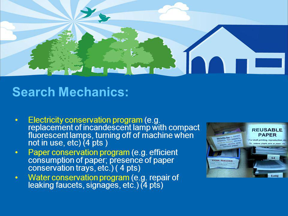 Search Mechanics: Electricity conservation program (e.g.