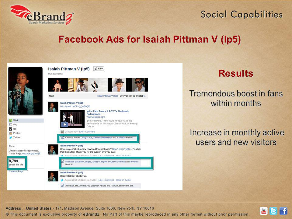 Facebook Ads for Isaiah Pittman V (Ip5) Results Tremendous boost in fans within months Increase in monthly active users and new visitors Increase in monthly active users and new visitors