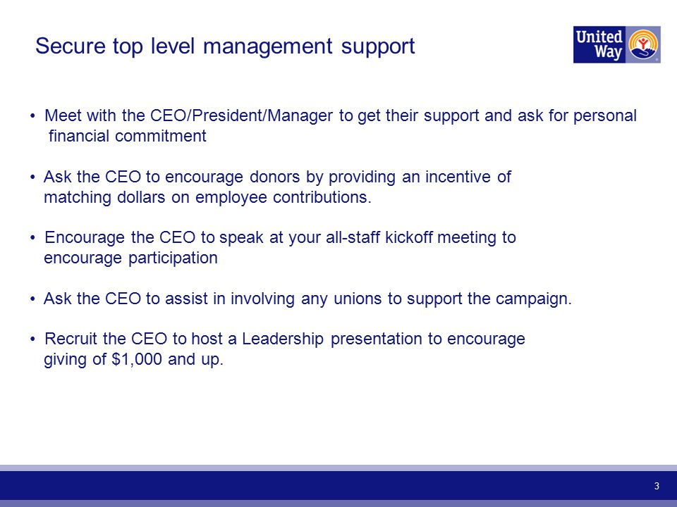 3 Secure top level management support Meet with the CEO/President/Manager to get their support and ask for personal financial commitment Ask the CEO to encourage donors by providing an incentive of matching dollars on employee contributions.