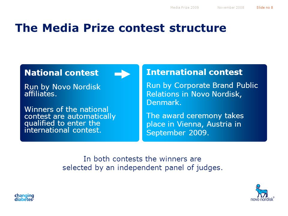 Media Prize 2009Slide no 8November 2008 The Media Prize contest structure Run by Novo Nordisk affiliates.