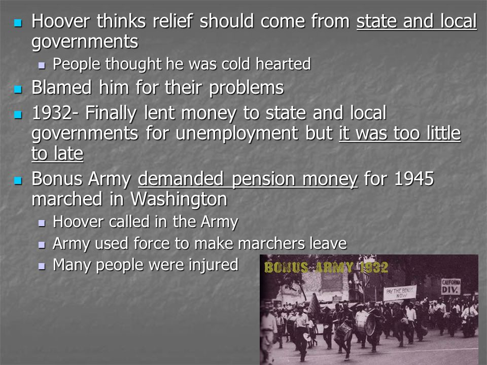 Hoover thinks relief should come from state and local governments Hoover thinks relief should come from state and local governments People thought he