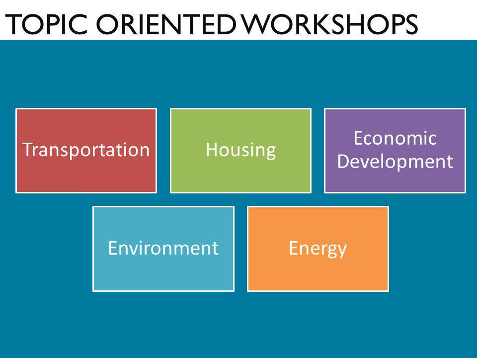 TOPIC ORIENTED WORKSHOPS TransportationHousing Economic Development EnvironmentEnergy