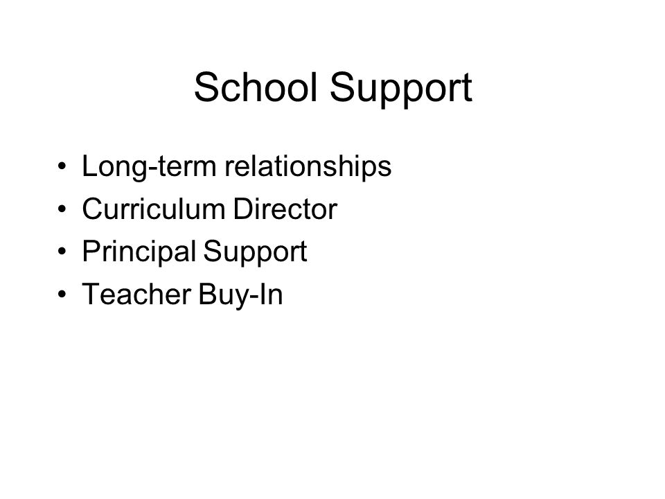 School Support Long-term relationships Curriculum Director Principal Support Teacher Buy-In