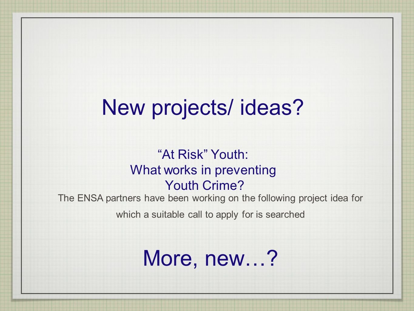 New projects/ ideas. At Risk Youth: What works in preventing Youth Crime.
