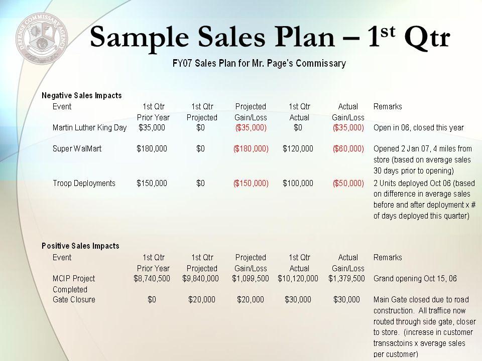 Sample Sales Plan – 1 st Qtr