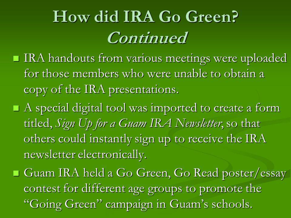 How did IRA Go Green.