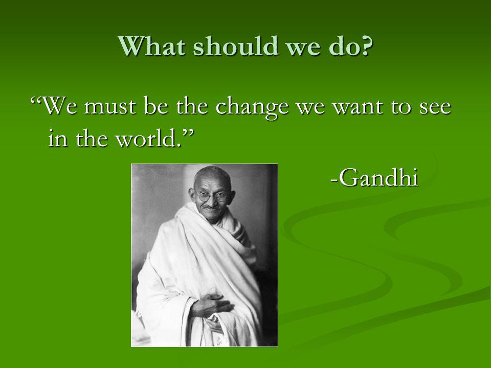 What should we do We must be the change we want to see in the world. -Gandhi -Gandhi