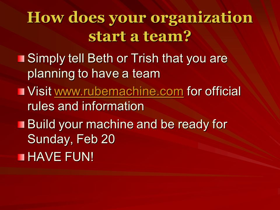 How does your organization start a team.