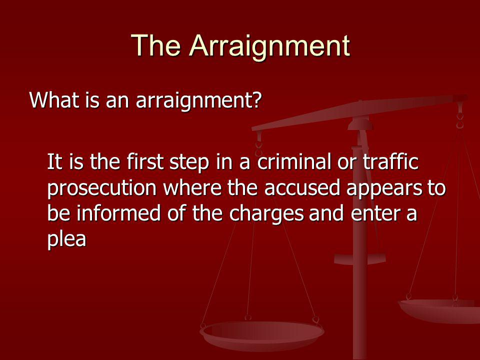 The Arraignment What is an arraignment.