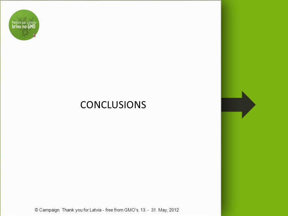 CONCLUSIONS © Campaign Thank you for Latvia - free from GMO s, 13. - 31. May, 2012