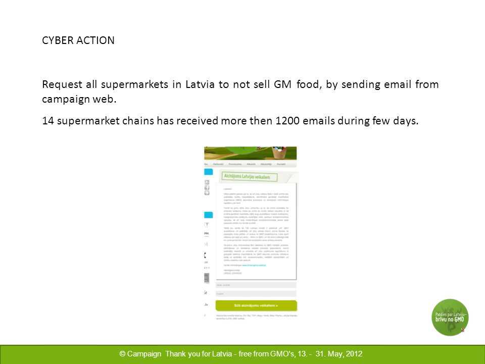 CYBER ACTION Request all supermarkets in Latvia to not sell GM food, by sending email from campaign web.