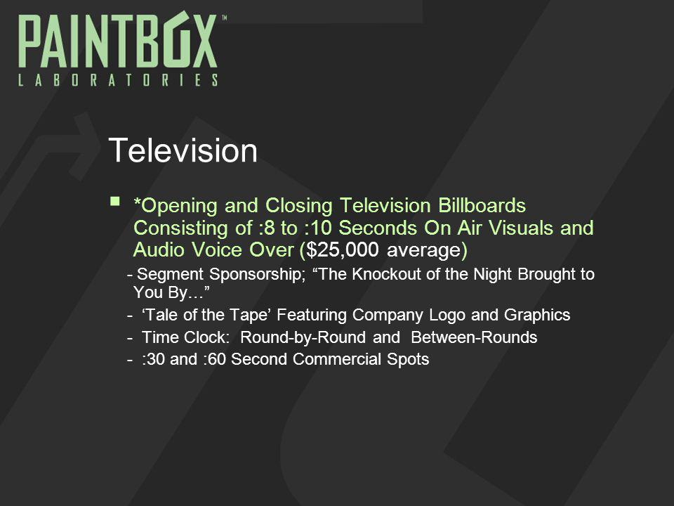 Television *Opening and Closing Television Billboards Consisting of :8 to :10 Seconds On Air Visuals and Audio Voice Over ($25,000 average) - Segment Sponsorship; The Knockout of the Night Brought to You By… - Tale of the Tape Featuring Company Logo and Graphics - Time Clock: Round-by-Round and Between-Rounds - :30 and :60 Second Commercial Spots