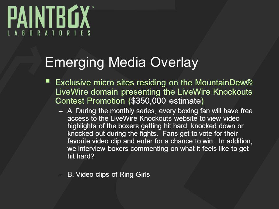 Emerging Media Overlay Exclusive micro sites residing on the MountainDew® LiveWire domain presenting the LiveWire Knockouts Contest Promotion ($350,000 estimate) –A.