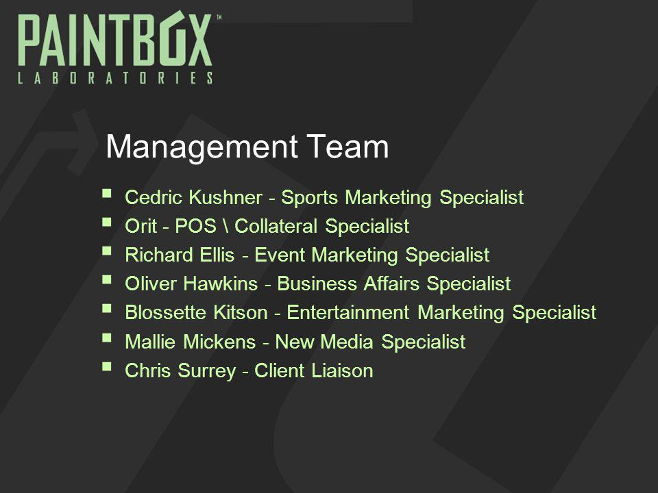 Management Team Cedric Kushner - Sports Marketing Specialist Orit - POS \ Collateral Specialist Richard Ellis - Event Marketing Specialist Oliver Hawkins - Business Affairs Specialist Blossette Kitson - Entertainment Marketing Specialist Mallie Mickens - New Media Specialist Chris Surrey - Client Liaison