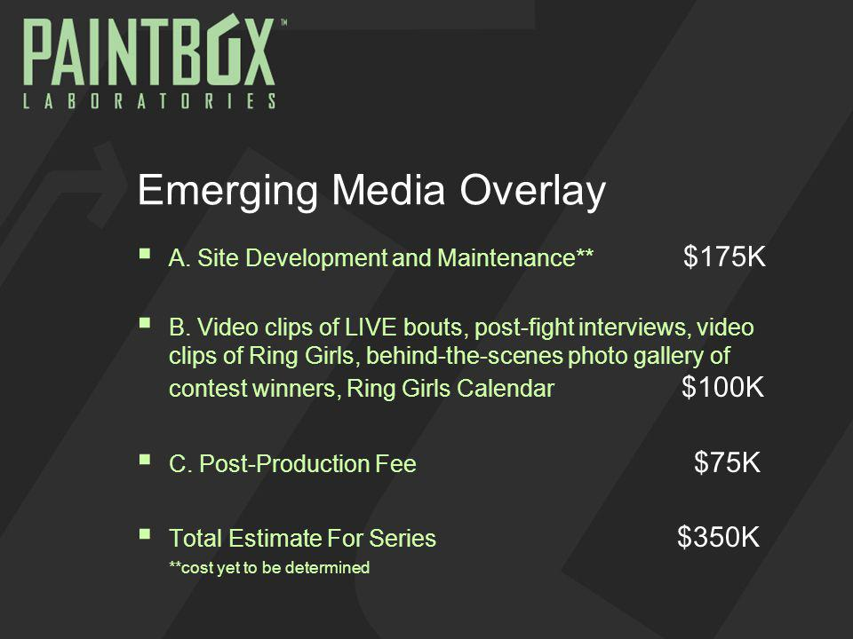Emerging Media Overlay A. Site Development and Maintenance** $175K B.